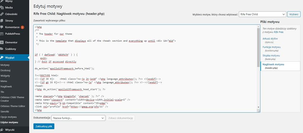 Edycja pliku php wedytorze motywu